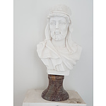 Hand Carved Solid Marble Bust Nubian Man - RRP $129 - Brand New
