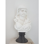 Hand Carved Solid Marble Bust Nubian Woman - RRP $129 - Brand New