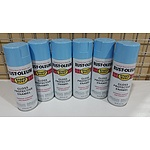 Rustoleum STOPS RUST Gloss Finish Protective Enamel Paint - HARBOUR BLUE Colour - 6 X 340gr Spray cans
