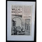 Framed 1930 Willys Knight Great Six Automobile Advertisement