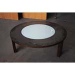 Armchair and Timber & Glass Coffee Table