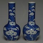 Pair of Antique Chinese Blue and White Prunus Bottle Vases Kangxi Mark