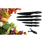 6 Pcs Stone Coated Stainless Steel Black Knife Set - RRP $39.95 - Brand New