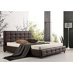King PU Leather Deluxe Bed Frame Brown RRP $714.95 - Brand New