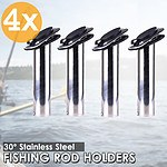 4 pieces Stainless Steel Flush Mount Boat Fishing Rod Holders with gasket Caps - Brand New