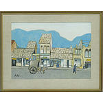 Beky (Vietnamese b.1938) Street Scene Mixed Media on Paper