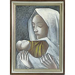 Hans Breinlinger (German Swiss 1888-1963) Madonna and Child Oil on Board