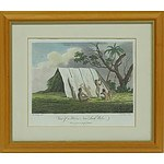 Hand Coloured Engraving View of a Hut in New South Wales Circa 1789