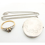 18 Karat Gold and Platinum Ring and Sterling Silver Locket