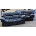2½ & 2 Seater Navy Leather Lounge Setting