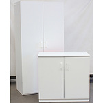 White Melamine Storage Cupboards - Lot of 7