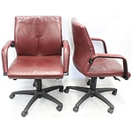 Burgtec Leather Medium Back Executive Chairs - Lot of Two