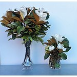 Display Unit - Glass Vases with Artificial Plants - Lot of 2
