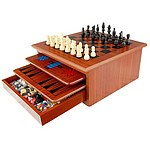 10 in 1 Wooden Chess Board Games Slide Out Best Checkers House Unit Set RRP $84.95 - Brand New