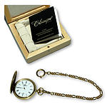 Solid 18K Gold Case Classique Quartz Date Fob Watch with Gold Plated Chain