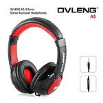 Ovleng A5 Adjustable Stereo Surround 3.5mm Earphones - Headphones for Music Phone Tablet with Mic Gaming Headset (BLACK RED) - with Warranty