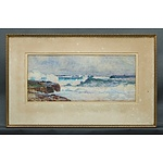 Lister, W Lister (1859-1943), Coastal Scene With Crashing Waves, Watercolour