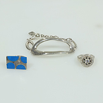 Pair of Sterling Silver Rings and a Uno De 50 Braclet