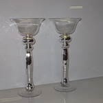 Pair of Nicholas Franton Glass Candle Stick Holders