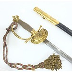 Antique English Court Sword and Scabbard with Bullion Sword Knot and Royal Crown Pommel
