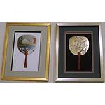 L19 - Framed Oriental Decorative Fans x 2