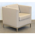 Beige PU Leather Arm Chairs - Set of 2