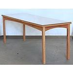 Glass Top Oak Veneer Console Table