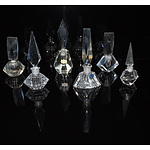 Collection of Six Crystal and Glass Perfume Bottles