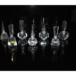 Collection of Seven Crystal and Glass Perfume Bottles