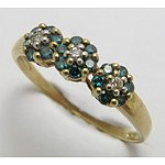 9ct Gold Blue & White Diamond Ring