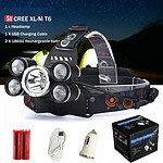 Headlamp with 5 CREE Lights 9800 Lumen Waterproof LED Headlamp & Batteries - Brand New