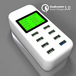 8 Port Smart AC USB Wall Charger LED iPad iPhone Android Tablet 8A with one QC3.0- with Warranty