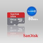 Sandisk 64GB Micro SDXC Ultra Class 10 up to 80mb/s with SD adaptor (SDSQUNC-064G) - With Warranty