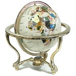 World Globe with Semi Precious Stone Marquetry