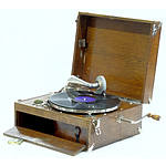 Dulcette Oak and Nickel Plated Portable Gramophone Early 20th Century