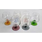 Set of 6 Cut Crystal Brandy Glasses