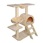 Multi Level Cat Scratching Poles Tree With Ladder Beige - Brand New