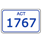 ACT Number Plate  1767