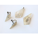 Vintage Mother of Pearl Set, Including Earrings, Pendant and Brooch