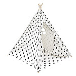 4 Poles Teepee Tent with Storage Bag Black White - Brand New