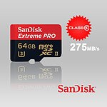 Sandisk Extreme Pro micro SDXC UHS-II 64GB Class 10 up to 275mb/s with microSD to USB 3.0 adaptor, SDSQXPJ-064G - with Warranty