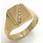 9ct Yellow Gold Diamond Signet Ring