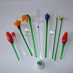 Collection of Art Glass Flowers Including Waterford Crystal