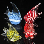 Three Art Glass Fish