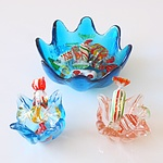 Three Art Glass Bowls with Assorted Glass Lollies