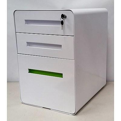 3-Drawer Retro Design Metal Filing Cabinet - White | ALLBIDS