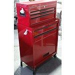 Pair of 3-Drawer Chest and 2-Drawer/Cabinet Roller Work Station - Demonstration Model - Red