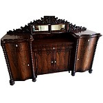 English Victorian Flame Mahogany Sideboard Circa 1880