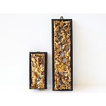 Two Chinese Red Lacquer and Gilt Panels