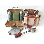 Collection of Retro Picnic Items, Including Thermos and Waffle Irons